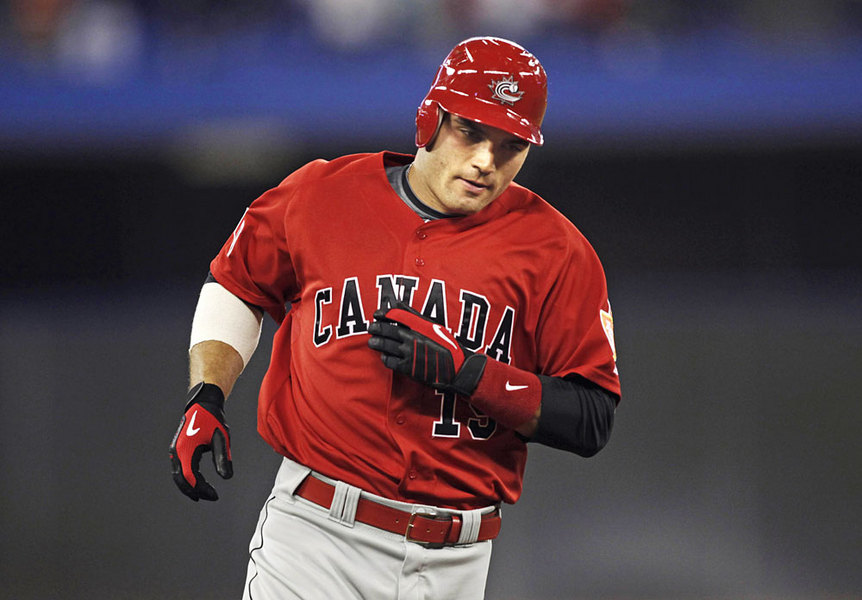 Joey Votto in Team Canada regalia